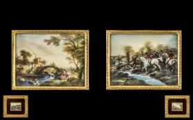Pair of Italian Miniature Paintings on Ivory - Depicting a Village Scene with Figures by A River