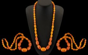 Amber Butterscotch Coloured Graduated Necklace - From The 1920's - Please Confirm with Photo.