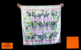 Hermes - Paris Stunning Yellow and Pink Les Poneys De Polo 100% Silk Scarf, Classic Edition,