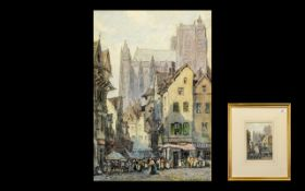 James W Milliken (Exh. 1887-1930) Watercolour. Artist lived Liverpool. A street scene with a