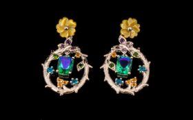 Peacock Quartz, Neon Apatite, Fire Opal, Amethyst and Russian Diopside Drop Earrings, in Art Nouveau
