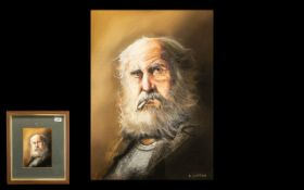 Larry Rushton Watercolour Drawing of An Old Man with a Beard Smoking.