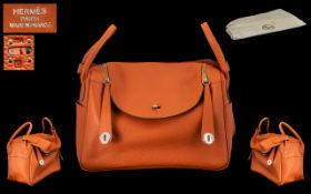 Hermes Paris - Collectors Piece - Taurillon Clemence Lindy 34 Orange Leather ( Soft ) Shoulder Bag