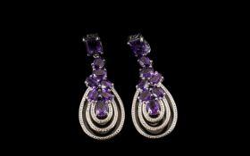 Amethyst Cluster Looped Drop Earrings, 10cts; a pendant cluster of oval cut deep purple amethysts