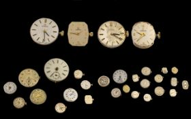 Collection Of 26 Watch Movements Makes To Include 4 x Omega, Marvin, Bulova, Garrard, Rotary,