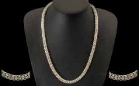 Chunky Silver Fancy Link Necklace Adjustable Length 18-22 Inches, Fully Hallmarked,