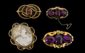 Victorian Yellow Metal Amethyst Brooches and Large Cameo Brooch. Largest Brooch 2.