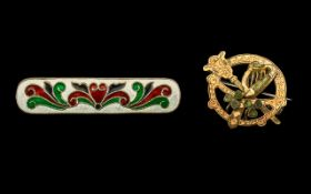 Silver and Enamel Bar Brooch, Continental Marks to Verso 2'' in length - together with an irish