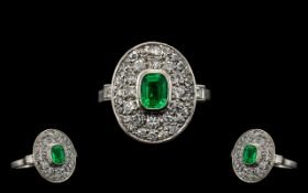 Art Deco Period Superb Quality 18ct White Gold - Emerald and Diamond Set Cluster Ring.