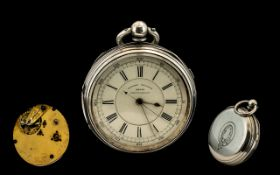 Victorian Open Faced Chronograph Pocket Watch White Enamelled Dial Marked Centre Seconds 22688