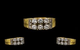 18ct Gold Attractive Diamond Set Dress Ring marked 18ct to interior of shank.