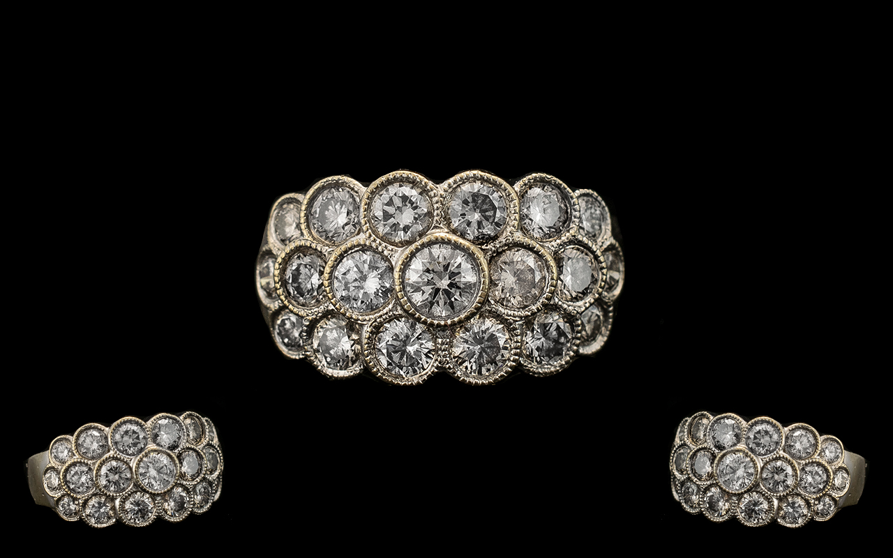 Lot 3 - 18ct White Gold - Nice Quality Pave Set Diamond Cluster Ring. Fully Hallmarked for 750 - 18ct.