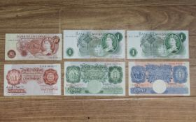 Collection Of Banknotes To Include 2 x JB Page One Pounds HU19 490237 & HT41 162547,