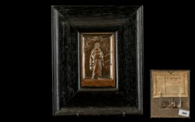 Camera Club Bronze Presentation Plaque - sculpted by T. Swaffield Brown, presented to S. Matthews.