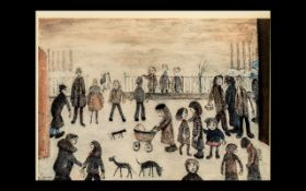 L. S. Lowry Limited Edition Print ' The Park ' Pencil Number 356/850. Blind Stamp H.D.