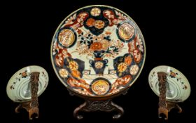 Japanese 18th Century Imari Decorated Dish of usual palette and form. Highlighted in gilt work, with