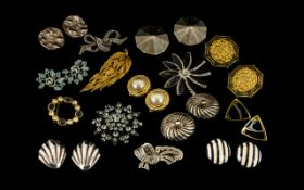 Vintage Costume Jewellery. Good collection of brooches and clip on earrings to include some