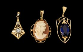 A Small Collection of 9ct Gold Pendants - comprising 1. Cameo set pendant fully hallmark. 2.