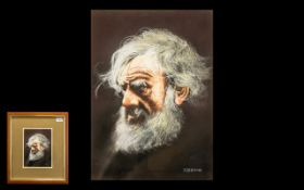 Larry Rushton Water Colour Drawing of a Bearded Man with Wind Swept Hair. Signed Rushton.