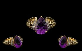 9ct Amethyst and Diamond Ring, Lovely Quality. Ring Size N.