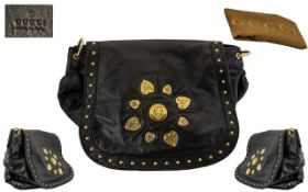 Gucci - Top Quality Back Calf Leather Shoulder Bag of Large Proportions / Size.