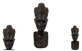 19th Century Early 20th Wooden Carving of An African Lady,