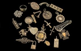 Collection Of Silver Jewellery To Include Fobs, Pendants, Brooches, Rings etc.