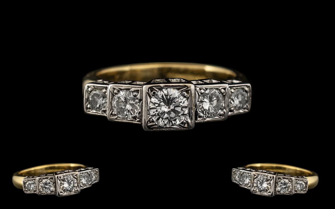 Lot 9A - 18ct White Gold - Superior Quality 5 Stone Diamond Set Ring,