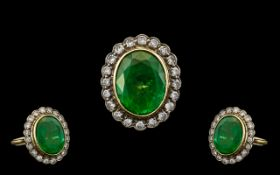 A Stunning 18ct Gold Emerald and Diamond Set Dress Ring of Top Quality, From the 1950's.