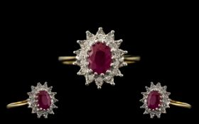 9ct Diamond and Ruby Ring, Lovely Design and Quality. Please See Image. Ring Size M.