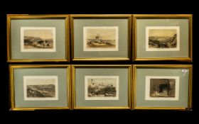 Middle Eastern And Holy Land Set Coloured Antique Prints by David Roberts RA, 6 in total,