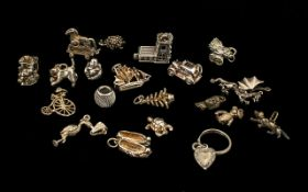 Mixed Collection Of 20 Silver Charms To Include A Dragon, Church, Troy Horse, Stork, Cat,