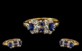 Antique Period - Attractive 18ct Gold Diamond and Sapphire Set Dress Ring of Pleasing Design.