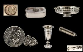 Antique Period Collection of Small Silver Items ( 5 ) Items In Total.