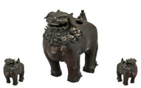 Antique Ming Period Chinese Bronze Incense Burner In the Form of a Temple Foo Dog,