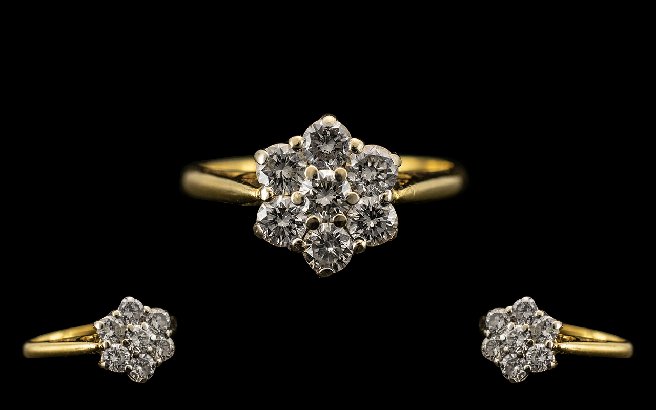 Lot 15 - 18ct Gold Diamond Cluster Ring Seven Round Modern Brilliant Cut Diamonds In A flower Head Setting,