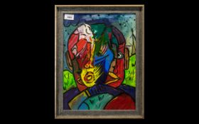 21st Century Artist Robert Haworth Acrylic Titled '3 Faces In Me'. Mounted and framed behind