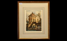 Circle of Samuel Prout O.W.S. (1783-1852). Picturesque buildings by a river - watercolour.