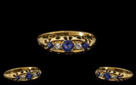 Antique Period - Attractive Sapphire and Diamond Set Ring. Marked 18ct. Ring Size - N.