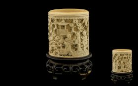 Japanese 19th Century Fine Quality Carved Ivory Brush Pot and Stand,
