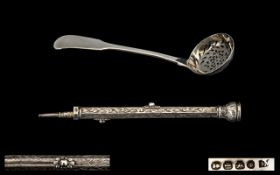 George IV - Nice Quality Silver Sifter Spoon of Pleasing Proportions, Maker John Meek.