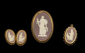 Wedgwood Lilac Jasper Ware Jewellery To Include A Brooch, Pendant And Screw Back Earrings,