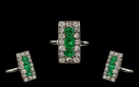 Edwardian Period Attractive and Stunning Platinum Emerald and Diamond Set - Rectangular Shaped