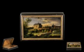 19thC Horn And 16ct Gold Snuff Box The Hinged Lid With Painted Miniature Depicting A Landscape With