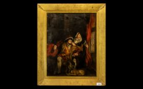 Antique Oil Painting on Canvas laid on board, depicting Henry VIII with his wife, the Queen, sitting