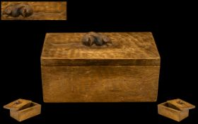 Robert Thompson of Kilburn ' Mouseman ' Adzed Oak Lidded Box. c.1950.