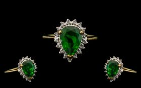 9ct Gold Dress Ring, Large Center Green Gem Stone Flanked by Diamonds. Ring Size - M.