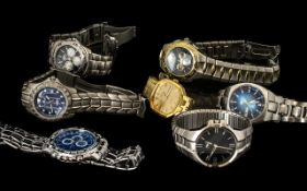 Collection Of Gents Modern Wristwatches Makes To Include Ridd, Fossil, Umbro, Lotus, Rotary etc.