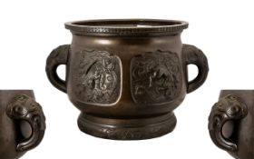 Japanese Meiji Period Bronze Plant Pot of fine quality casting and patination. Panels cast to the