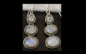 Rainbow Moonstone Triple Drop Earrings, 15cts, each earring having a pear cut cabochon to the top,